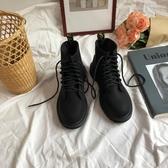 韓國學院原宿街拍厚底高幫機車馬丁復古短靴女夏