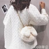 熱賣毛絨包 可愛兔耳朵毛絨包包女2021秋冬新款少女百搭毛毛側背斜背包 coco
