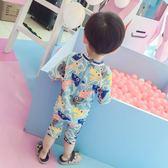 韓國防曬速干長袖保暖兒童泳衣男童可愛鯊魚套裝寶寶連體沖浪服潮