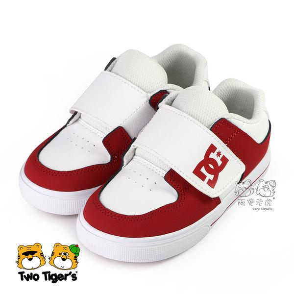 美國 DC TODDLER'S PURE V II 紅白 皮質 魔鬼氈 小童鞋 NO.R5075