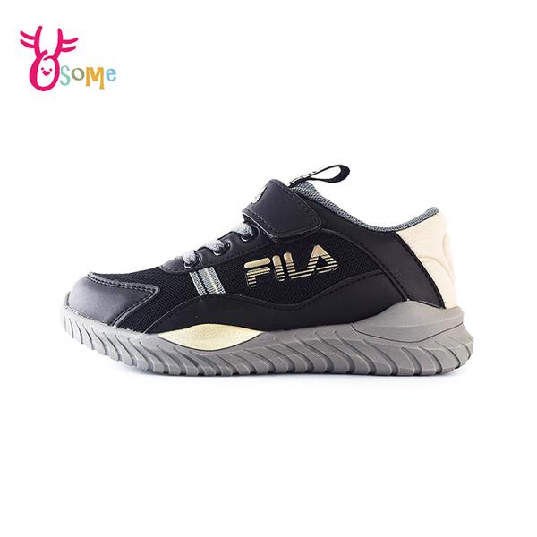 FILA童鞋 男童運動鞋 輕量慢跑鞋 運動鞋 跑步鞋 魔鬼氈運動鞋 大童 康特杯 R7679#黑色◆奧森