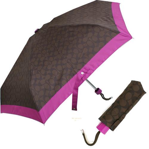 【COACH】經典CC LOGO 摺疊晴雨傘(深咖/紫)
