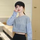 限時特價 長袖襯衫女秋季新款可鹽可甜拼接短款襯衣拉鏈開叉小心機上衣