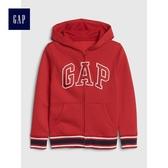 Gap男童 Logo印花落肩長袖連帽休閒外套 491327-熱情紅