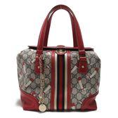 GUCCI 古馳 紅色PVC馬靴圖經典LOGO手提包 硬殼箱包 波士頓包 Handbag 【BRAND OFF】