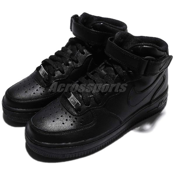 Nike 休閒鞋 Wmns Air Force 1 Mid 07 AF1 黑 全黑 中筒 復古 運動鞋 基本款 女鞋【PUMP306】 366731-001