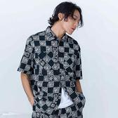塗鴉感棋盤格紋短袖襯衫 STAGE CHECKERBOARD SHIRT  黑色