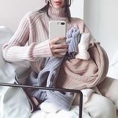 毛衣-兔毛高領條紋純色韓版女針織衫5色73uc11【巴黎精品】