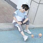 運動套裝 男童夏裝套裝2019新款兒童夏季寶寶洋氣男孩帥氣短袖運動兩件套潮 3色