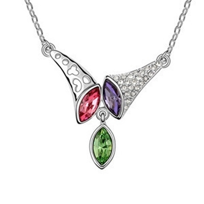 925純銀項鍊 水晶墜飾-鑲鑽號角生日母親節禮物女飾品4色73aj22【巴黎精品】