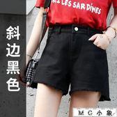 牛仔短褲 韓版寬鬆顯瘦高腰牛仔熱褲