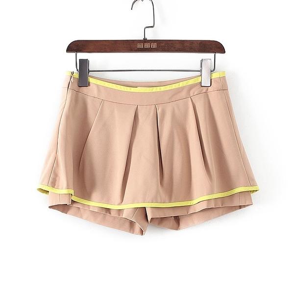 [超豐國際]帛春夏裝女裝駝色裙裝式學院風短褲 40785(1入)