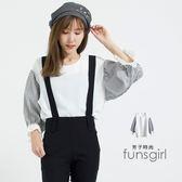 雪紡圓領直紋袖後鈕扣衣-1色~funsgirl芳子時尚