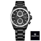 ELEGANTSIS 超大錶面強悍銀框三眼黑鋼錶 46mm ELJT42R-6B08MA 公司貨 | 名人鐘錶高雄門市