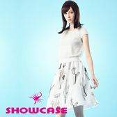 【SHOWCASE】仙人掌雪紡印花鏤空蕾絲配色洋裝(白)