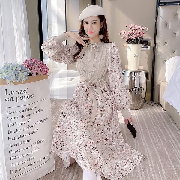 VK旗艦店 韓系甜美淑女碎花拼接針織氣質顯瘦長袖洋裝
