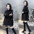 蕾絲洋裝 冬季新款韓版時尚蕾絲連身裙女修身顯瘦打底裙粘鉆潮OB3816『毛菇小象』