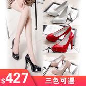 高跟鞋女工作鞋新款防水台細跟漆皮婚鞋性感百搭淺口單鞋10CM大尺碼34-42碼數 一件82折