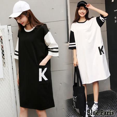 運動風K字母口袋五分袖洋裝