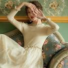 網紗連身裙   針織連身裙女秋冬新款復古超仙網紗拼接打底中長款毛衣裙過膝 童趣屋