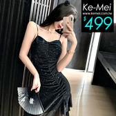 克妹Ke-Mei【ZT53701】PARTY夜店名媛荷葉銀蔥美胸不規則洋裝