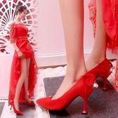 結婚鞋子女新款單鞋韓版敬酒尖頭婚紗高跟鞋新娘婚鞋婚禮紅鞋 草莓妞妞