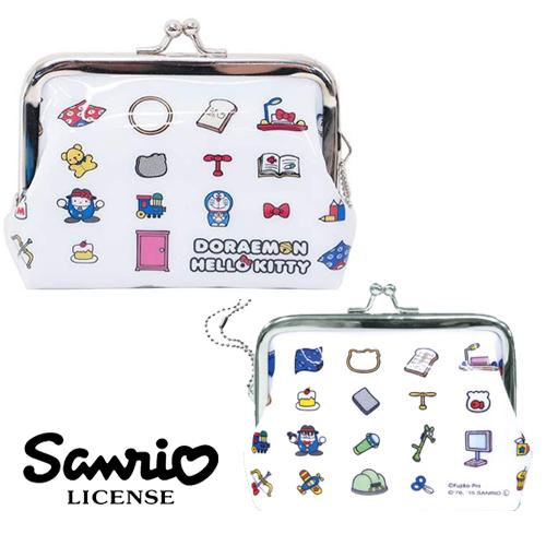 【日本進口正版】哆啦A夢 X Hello Kitty 白色款 零錢包 珠扣包 卡片包 小叮噹 凱蒂貓 - 044002