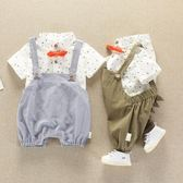 背帶褲套裝夏季1-2歲童裝2018新款女嬰兒夏短袖純棉兩件套 森活雜貨