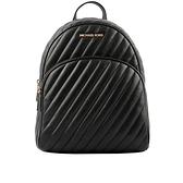 【MICHAEL KORS】Abbey 金字縫線紋路皮革後背包(中款)(黑色) 35T0GAYB6L BLACK