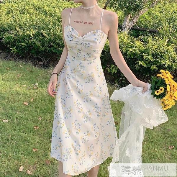 網紅泫雅風碎花吊帶洋裝夏天穿搭仙女超仙森系性感沙灘長裙子女 萬聖節狂歡
