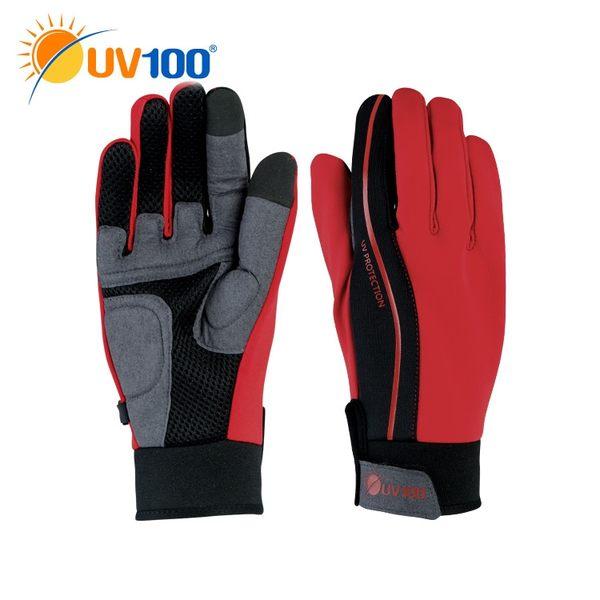 UV100 防曬 抗UV-透氣吸震觸控自行車手套-男