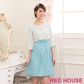 【RED HOUSE-蕾赫斯】花朵蕾絲蝴蝶結假兩件式洋裝(淺藍色)