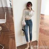 破洞牛仔褲女春夏韓版顯瘦九分不規則高腰八分窄管鉛筆褲 歌莉婭