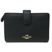【COACH】防刮牛皮零錢袋中夾(黑-金標)