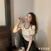 紫色短袖t恤女2020年新款夏季修身針織泡泡袖高腰短款上衣服ins潮 FX8284 【寶貝兒童裝】