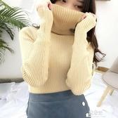 打底衫秋冬裝新款復古高領亮絲長袖針織打底衫女堆堆領修身短款加絨毛衣(快速出貨)