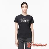 【wildland 荒野】女 彈性輕量印花排汗短袖圓領衫『黑色』0A91633 運動 露營 登山 吸濕 排汗 快乾
