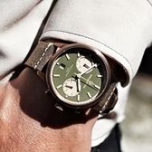 elegantsis / ELJT58QS-6G02LC / 藍寶石水晶玻璃 計時 日期 防水100米 真皮手錶 墨綠x古銅金框x褐 43mm