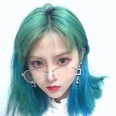 假髮女空氣劉海短直髮時尚綠色漸變藍圓臉中長直髮自然鎖骨髮 台北日光