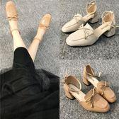 時尚蝴蝶結復古方頭中跟包頭涼鞋 學生單鞋【多多鞋包店】z7563