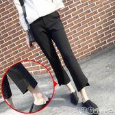 西裝褲 直筒闊腿褲女夏雪紡高腰開叉微喇叭九分西裝休閒褲子女春  瑪麗蘇