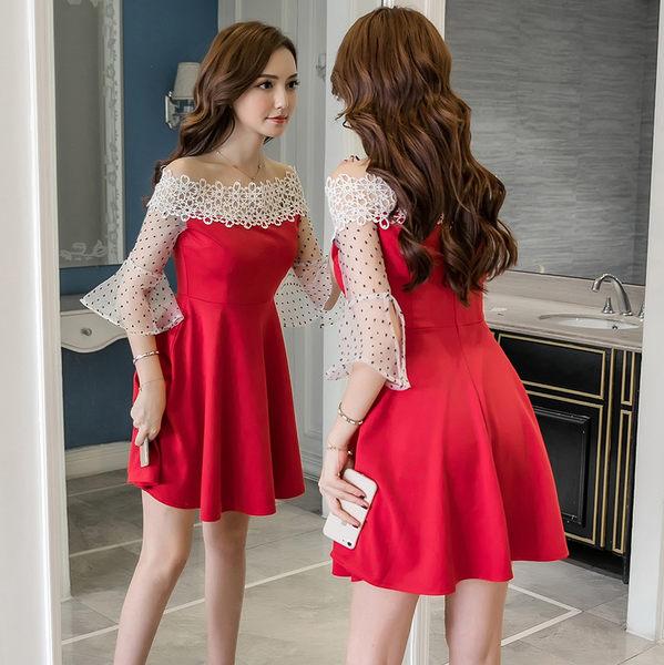 VK旗艦店 韓國風時尚收腰顯瘦性感露肩一字領蕾絲短袖洋裝