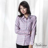 Victoria 格紋基本長袖襯衫-粉格-Y15002