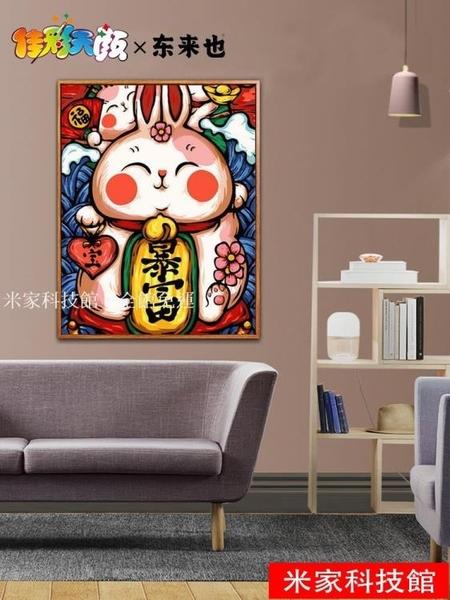 數字油畫 diy數字油畫中國古風人物國潮手繪填充涂色卡通裝飾動漫畫 米家WJ