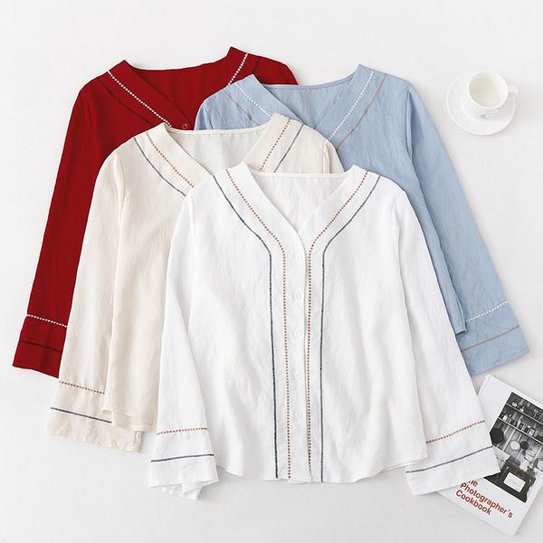 VK旗艦店 韓國民族風刺繡V領白色襯衫寬鬆長袖上衣