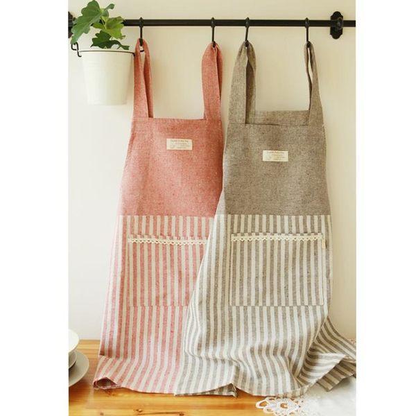 布藝圍裙 廚房工作服 條紋 限時八八折