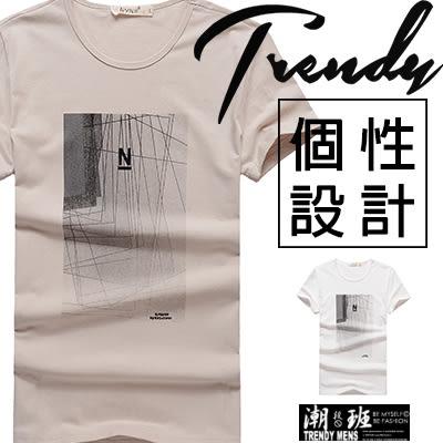 『潮段班』【SD031670】日韓春夏新款 M-L 圖框抽象印刷 線條字母印花 休閒短袖T恤圓領上衣