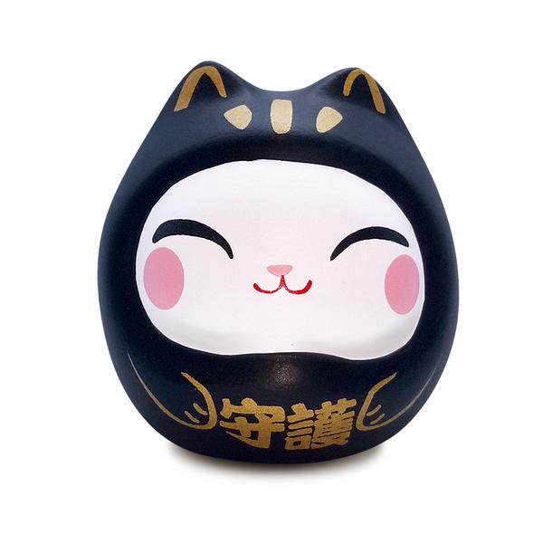 【金石工坊】七小福達摩貓-黑色守護 招財貓 陶瓷擺飾 開運擺飾 辦公開運 公仔