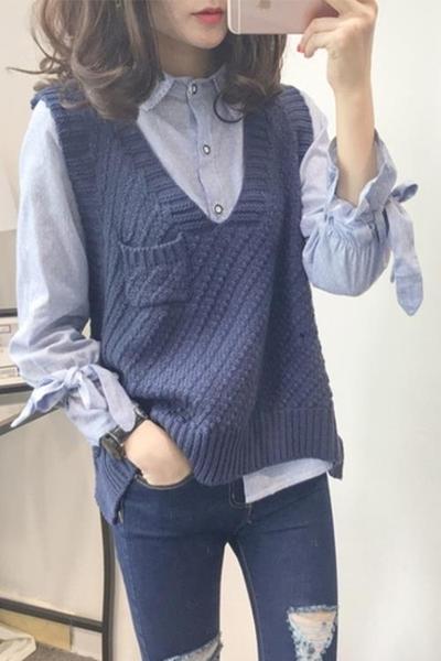 毛衣背心 學院毛衣馬甲套頭外穿女裝短款寬鬆無袖針織毛線背心韓版春秋季潮 - 免運