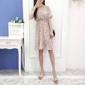 魚尾連身裙 很仙的法國小眾流行甜美裙子雪紡碎花森系短袖魚尾裙女